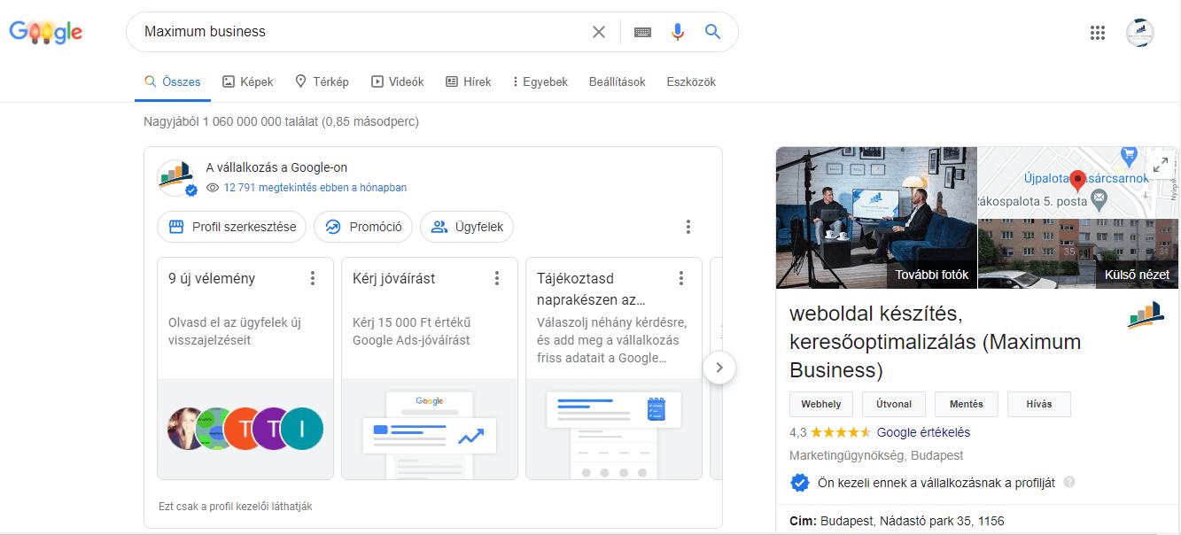 google cégem fiók